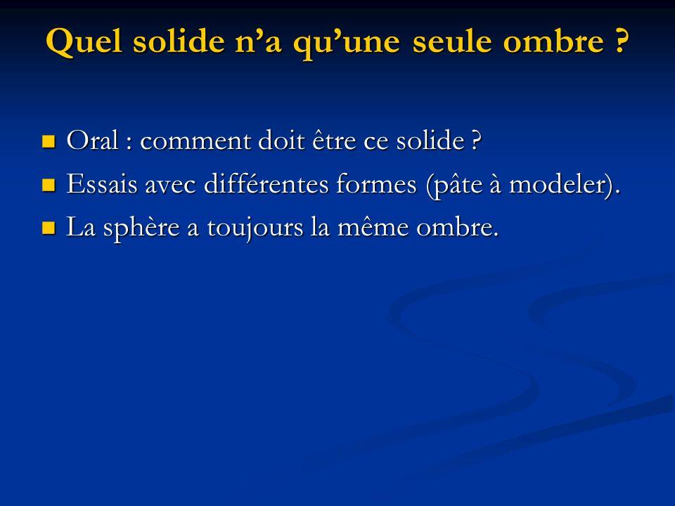 Quel solide na quune seule ombre ? Oral : comment doit être ce solide ? Oral : comment doit être ce solide ? Essais avec différentes formes (pâte à mo