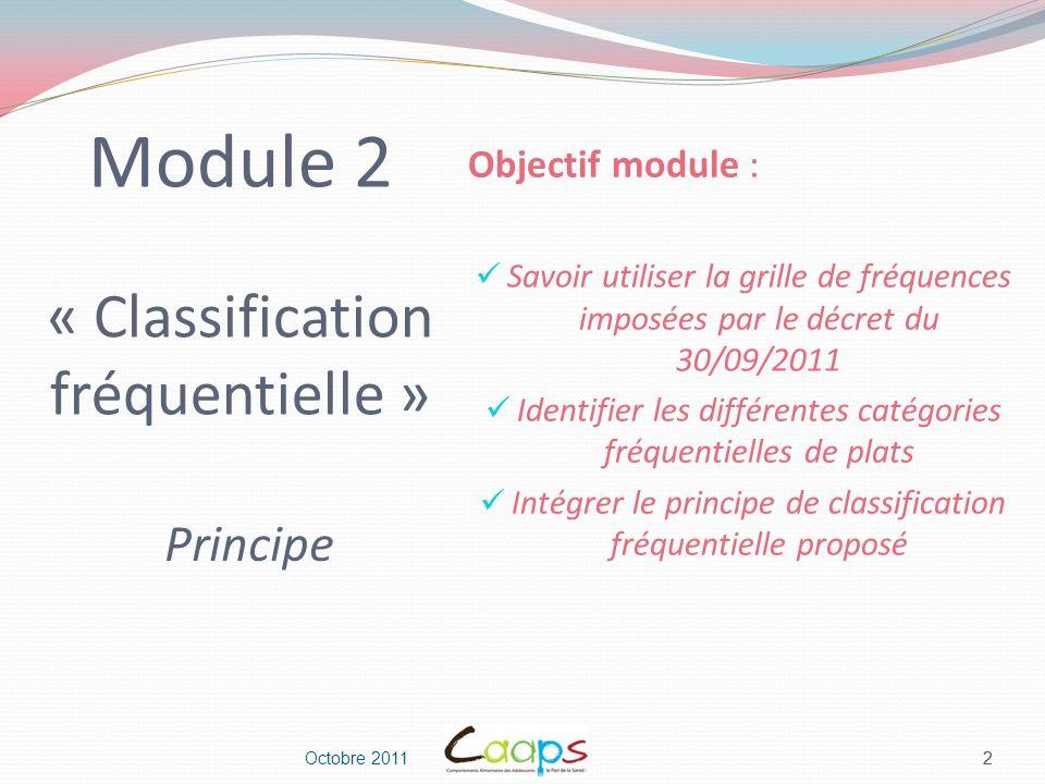 Octobre 2011 3 Module 2 « Classification fréquentielle » Principe 3 Objectif outil : Créer un classeur de catégories fréquentielles