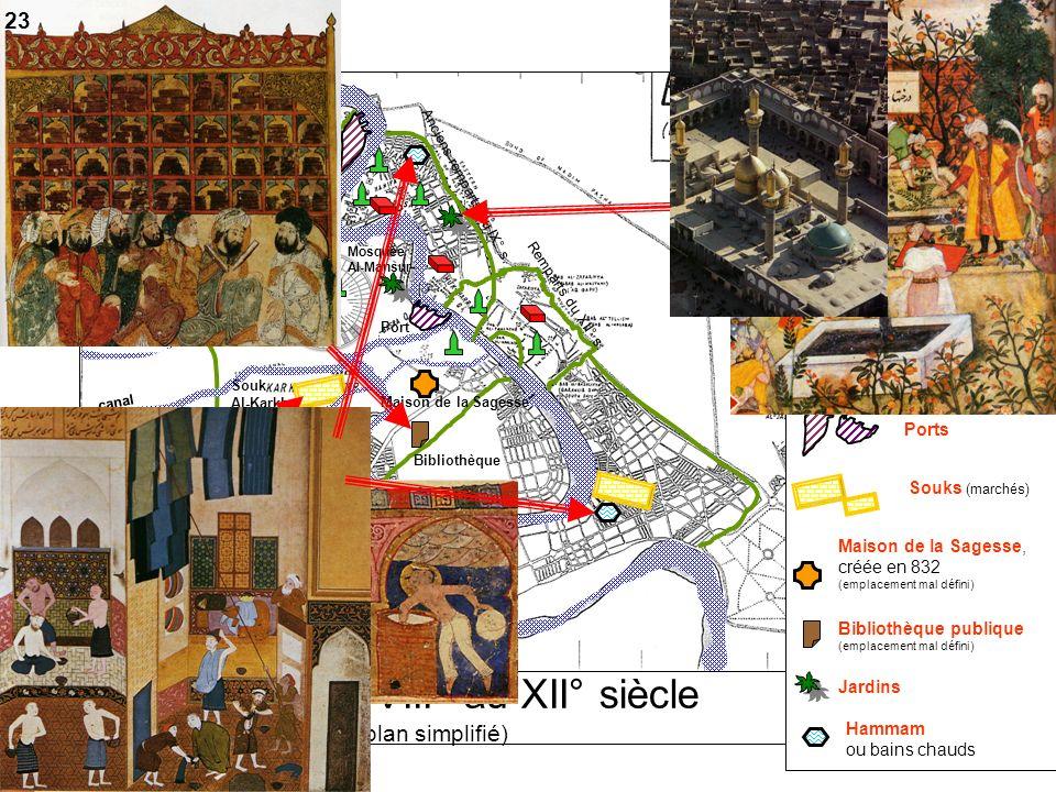 Bagdad du VIII° au XII° siècle (plan simplifié) canal Port 1………………. créée en 762 par le calife Al-Mansur 3…………………. murailles construites au fil des si