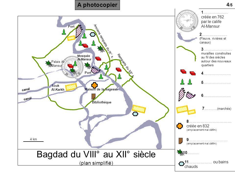 Bagdad du VIII° au XII° siècle (plan simplifié) canal Port 1……………….