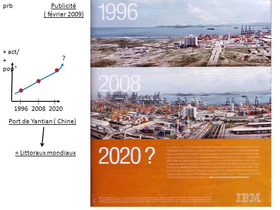 + act/ + pop° 1996 2008 2020 ? Port de Yantian ( Chine) = Littoraux mondiaux Publicité ( février 2009) prb