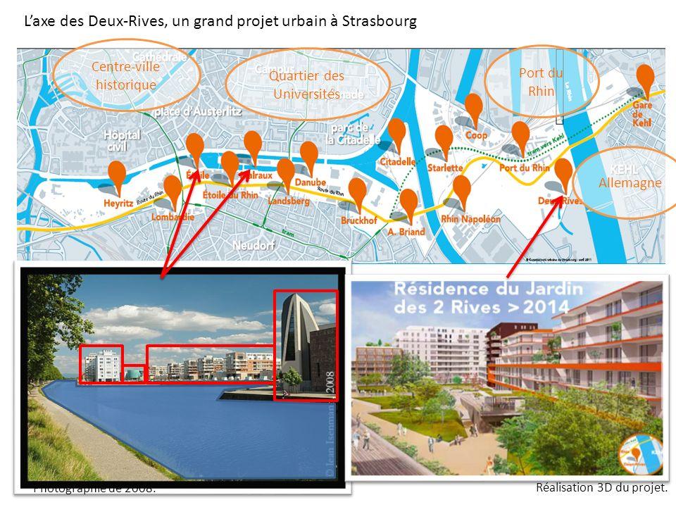 Laxe des Deux-Rives, un grand projet urbain à Strasbourg Photographie de 2008. Réalisation 3D du projet. Centre-ville historique Quartier des Universi