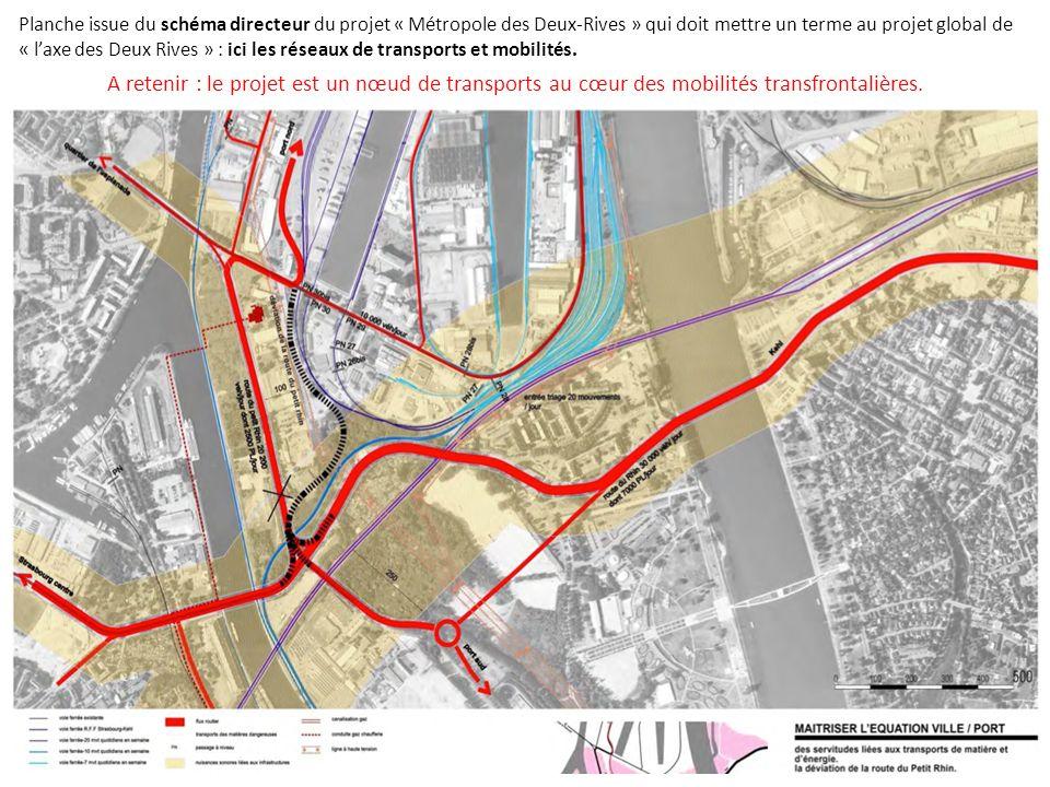 Planche issue du schéma directeur du projet « Métropole des Deux-Rives » qui doit mettre un terme au projet global de « laxe des Deux Rives » : ici les risques technologiques, naturels et le bassin demplois.