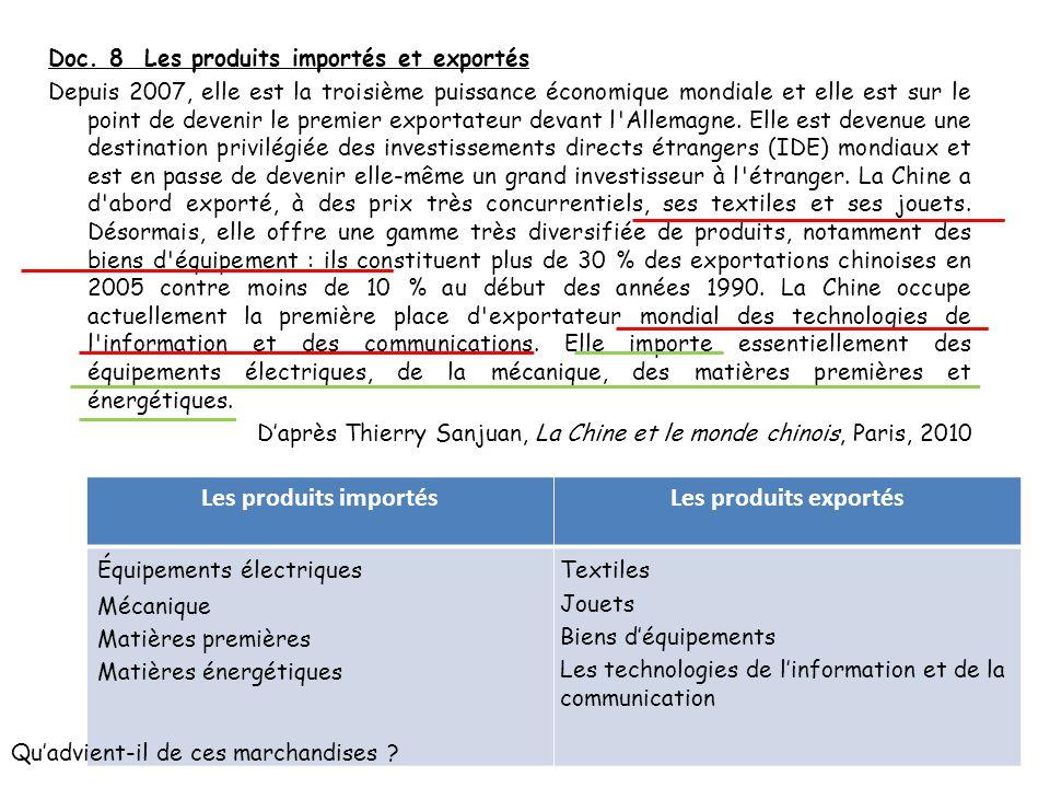 Doc. 8 Les produits importés et exportés Depuis 2007, elle est la troisième puissance économique mondiale et elle est sur le point de devenir le premi