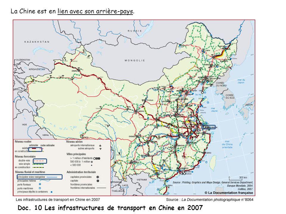 La Chine est en lien avec son arrière-pays. Doc. 10 Les infrastructures de transport en Chine en 2007