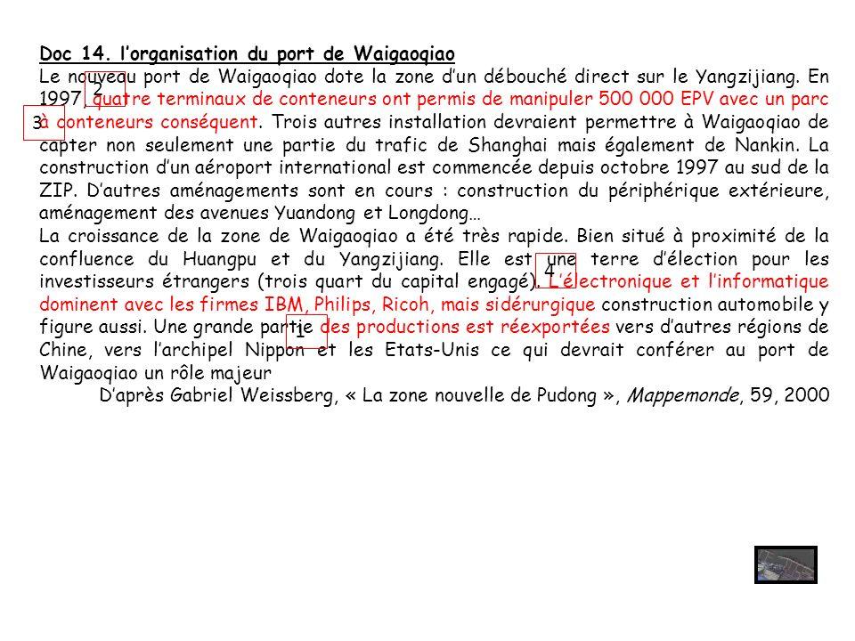 Doc 14. lorganisation du port de Waigaoqiao Le nouveau port de Waigaoqiao dote la zone dun débouché direct sur le Yangzijiang. En 1997, quatre termina