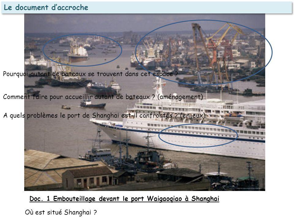 Doc. 1 Embouteillage devant le port Waigaoqiao à Shanghai Où est situé Shanghai ? Pourquoi autant de bateaux se trouvent dans cet espace ? Comment fai