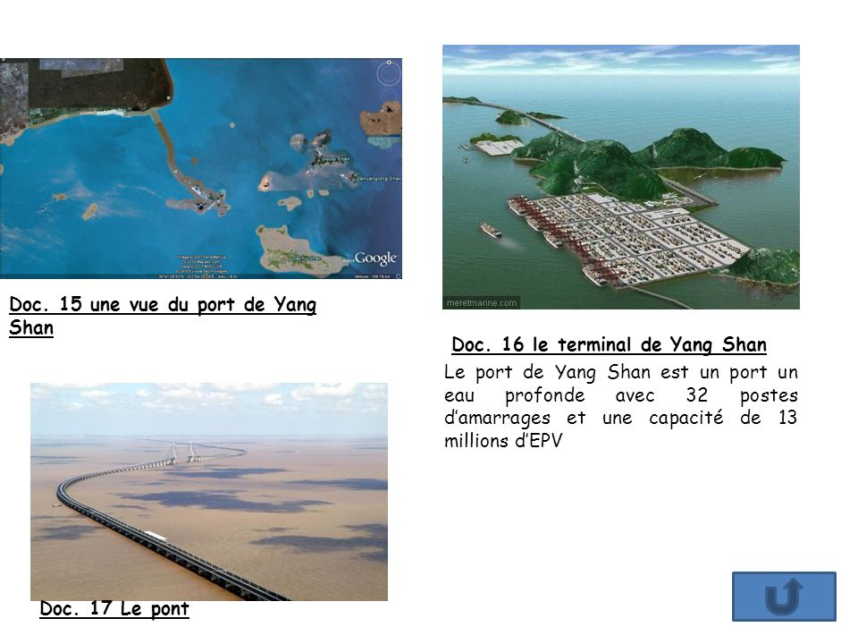 Doc. 15 une vue du port de Yang Shan Doc. 16 le terminal de Yang Shan Doc. 17 Le pont Le port de Yang Shan est un port un eau profonde avec 32 postes