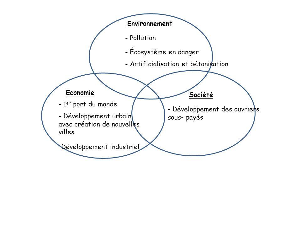 Environnement - Pollution - Écosystème en danger - Artificialisation et bétonisation Economie - 1 er port du monde - Développement urbain avec créatio