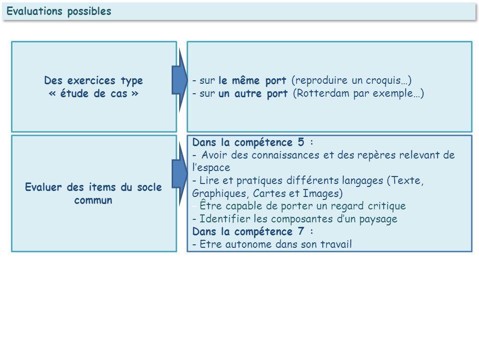 Evaluations possibles Des exercices type « étude de cas » Evaluer des items du socle commun - sur le même port (reproduire un croquis…) - sur un autre