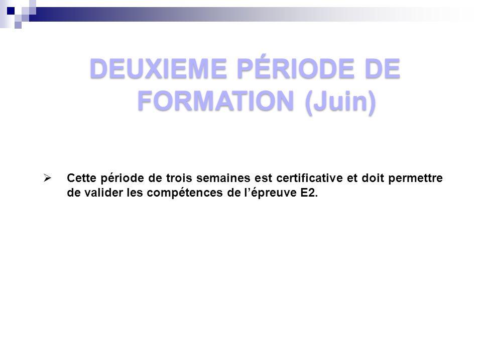 DEUXIEME PÉRIODE DE FORMATION (Juin) Cette période de trois semaines est certificative et doit permettre de valider les compétences de lépreuve E2.