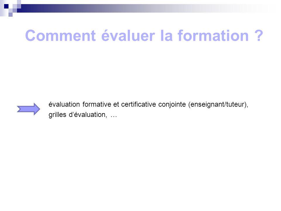 Comment évaluer la formation ? évaluation formative et certificative conjointe (enseignant/tuteur), grilles dévaluation, …
