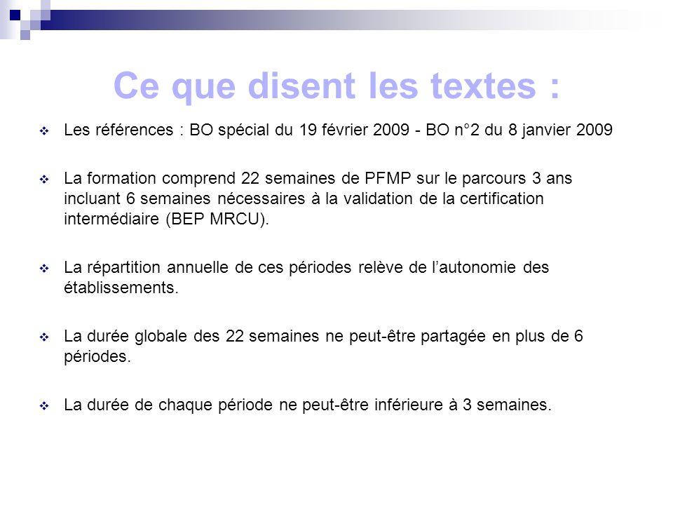 Ce que disent les textes : Les références : BO spécial du 19 février 2009 - BO n°2 du 8 janvier 2009 La formation comprend 22 semaines de PFMP sur le