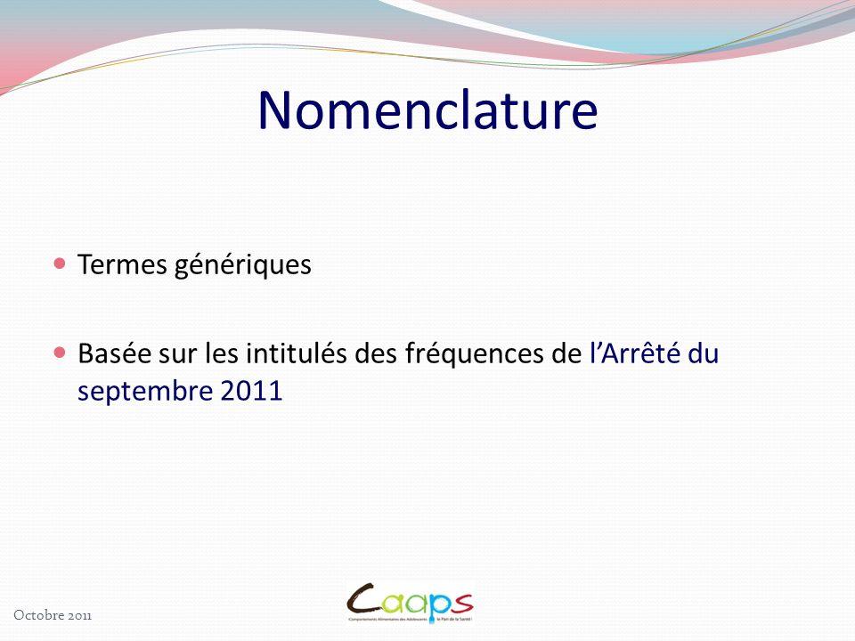 Termes génériques Basée sur les intitulés des fréquences de lArrêté du septembre 2011 Nomenclature Octobre 2011