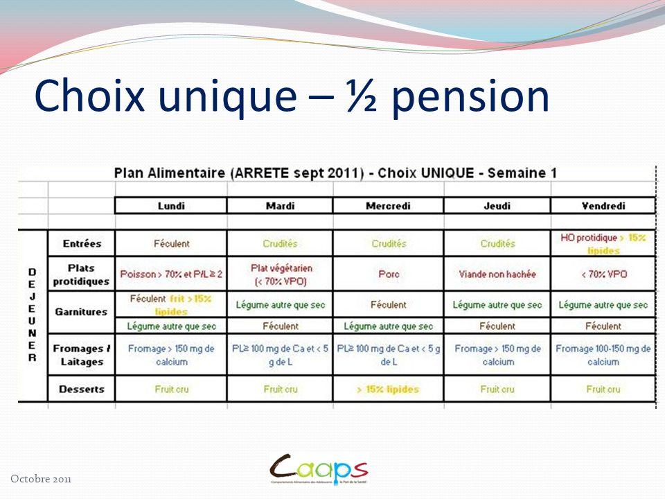 Choix unique – ½ pension Octobre 2011