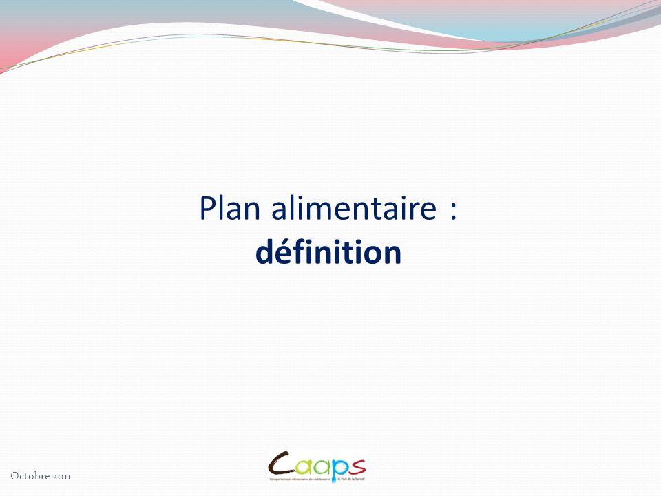 Plan alimentaire : définition Octobre 2011