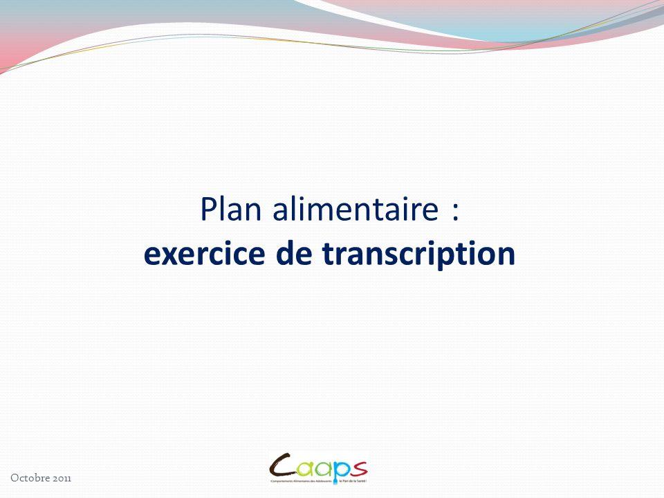Plan alimentaire : exercice de transcription Octobre 2011
