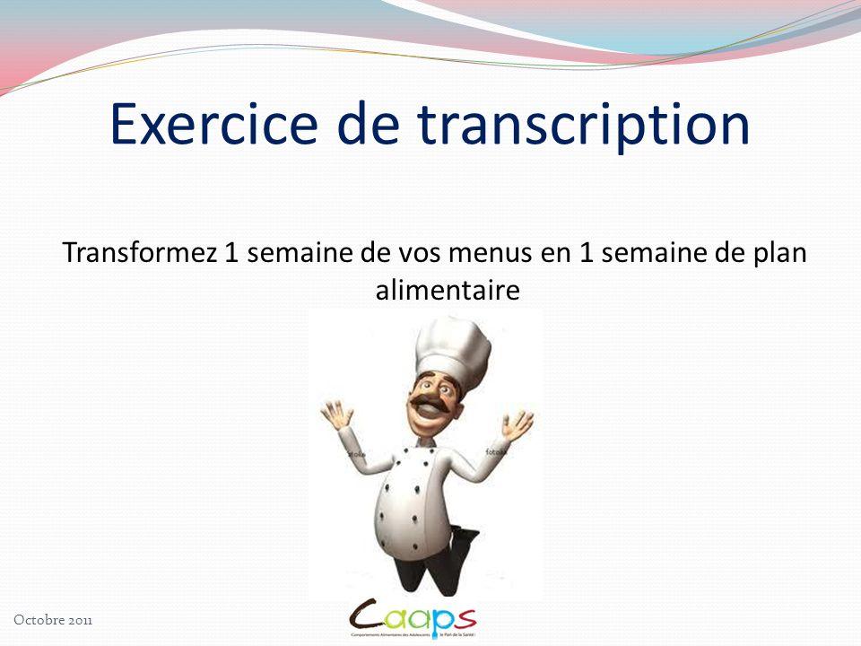 Transformez 1 semaine de vos menus en 1 semaine de plan alimentaire Exercice de transcription Octobre 2011