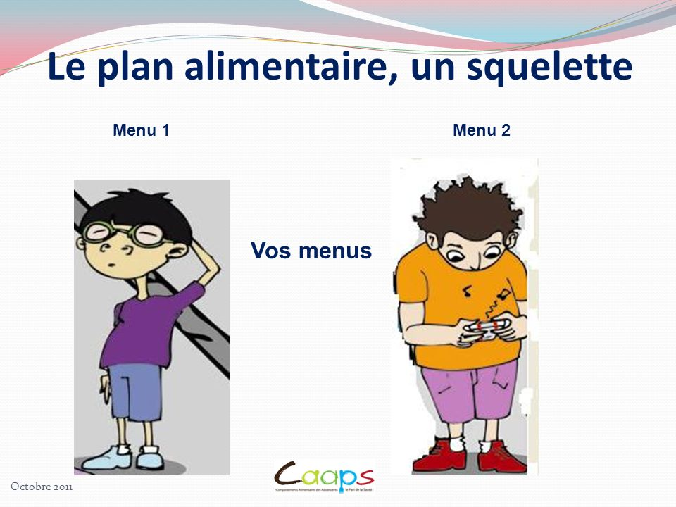 Menu 1 Menu 2 Le plan alimentaire, un squelette Vos menus Octobre 2011