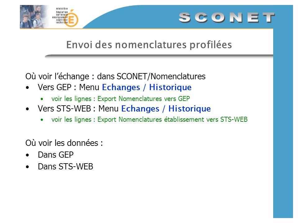 Envoi des nomenclatures profilées Où voir léchange : dans SCONET/Nomenclatures Vers GEP : Menu Echanges / Historique voir les lignes : Export Nomencla