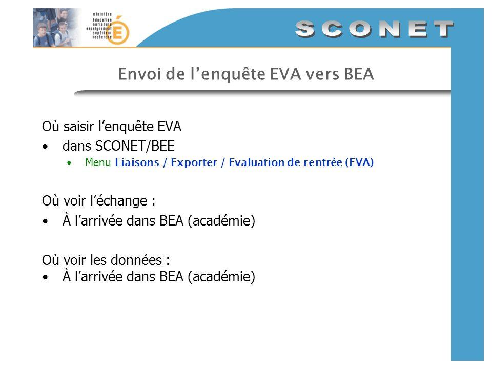 Envoi de lenquête EVA vers BEA Où saisir lenquête EVA dans SCONET/BEE Menu Liaisons / Exporter / Evaluation de rentrée (EVA) Où voir léchange : À larr