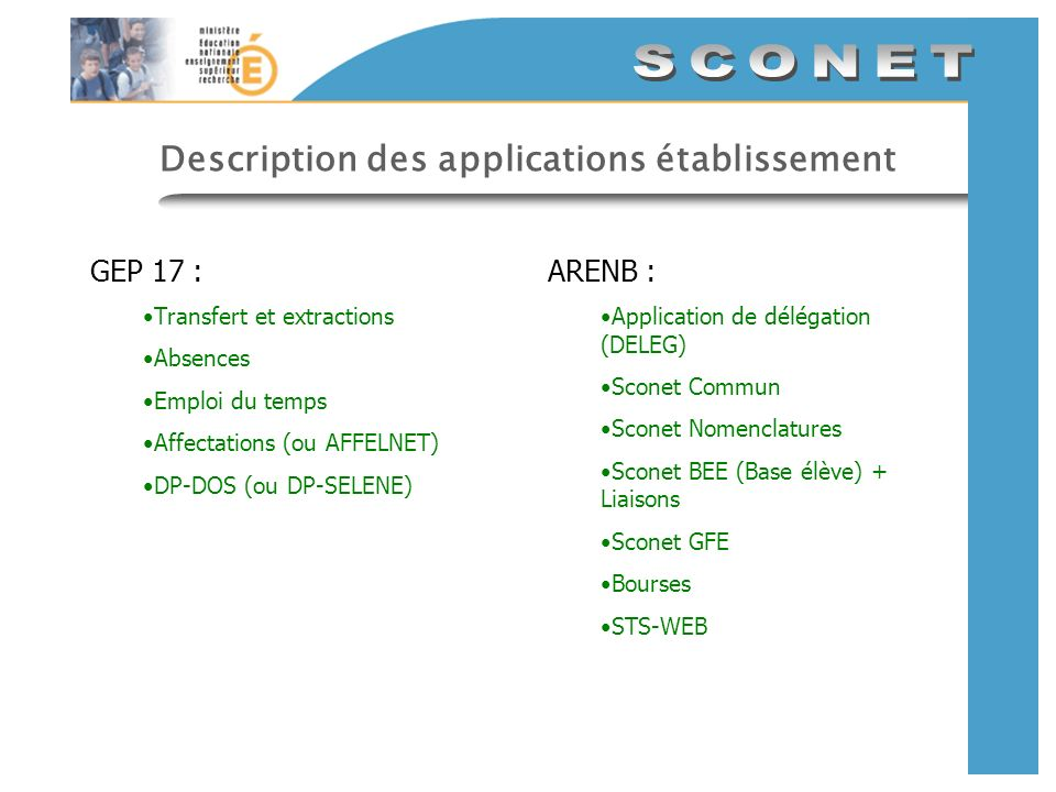 Description des applications établissement GEP 17 : Transfert et extractions Absences Emploi du temps Affectations (ou AFFELNET) DP-DOS (ou DP-SELENE)