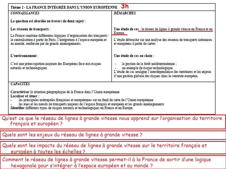 Quest ce que le réseau de lignes à grande vitesse nous apprend sur lorganisation du territoire français et européen ? Quels sont les enjeux du réseau