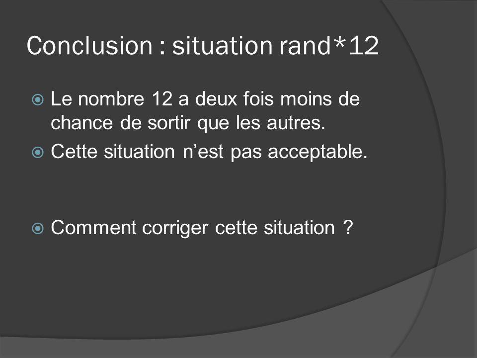 Conclusion : situation rand*12 Le nombre 12 a deux fois moins de chance de sortir que les autres. Cette situation nest pas acceptable. Comment corrige
