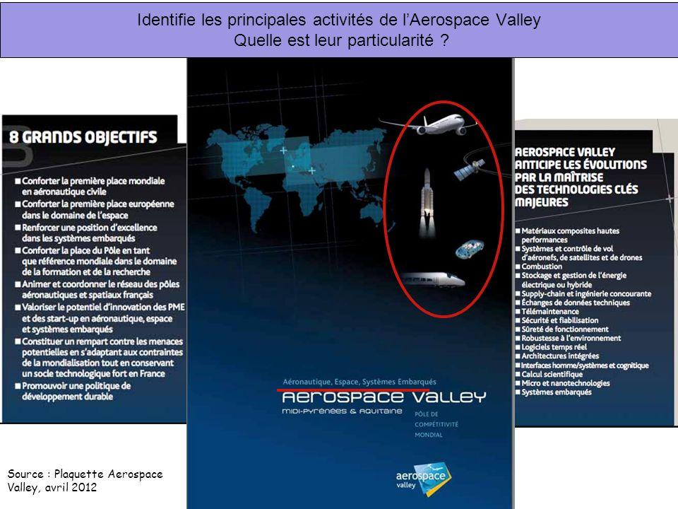 Identifie les principales activités de lAerospace Valley Quelle est leur particularité ? Source : Plaquette Aerospace Valley, avril 2012