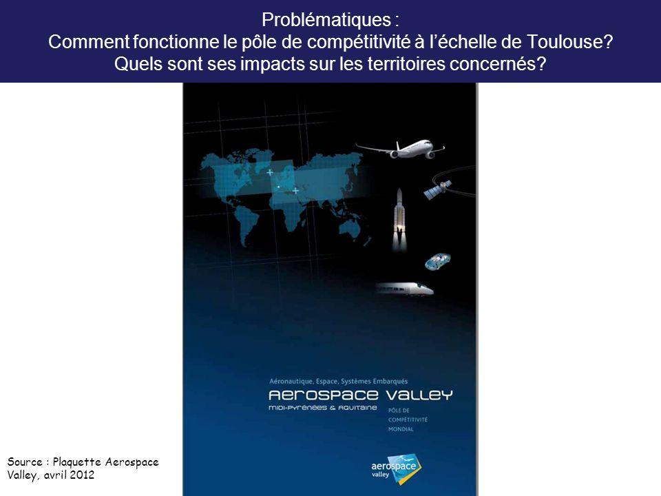 Problématiques : Comment fonctionne le pôle de compétitivité à léchelle de Toulouse? Quels sont ses impacts sur les territoires concernés? Source : Pl