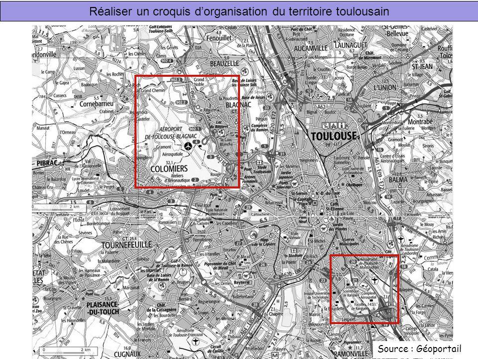 Réaliser un croquis dorganisation du territoire toulousain Source : Géoportail
