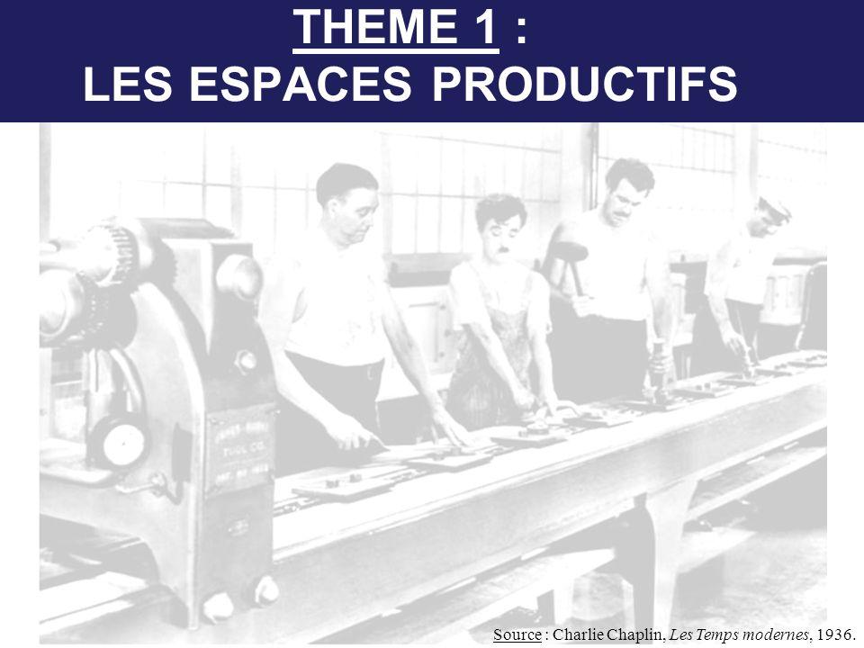 THEME 1 : LES ESPACES PRODUCTIFS Source : Charlie Chaplin, Les Temps modernes, 1936.