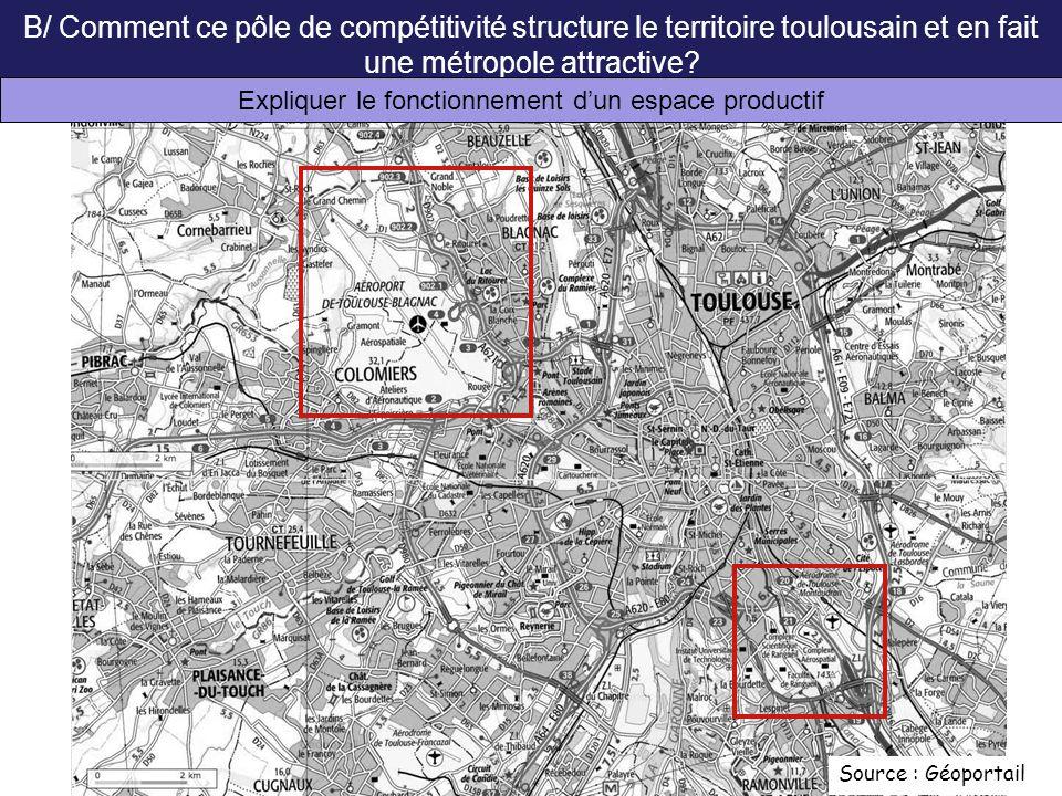 Source : Géoportail B/ Comment ce pôle de compétitivité structure le territoire toulousain et en fait une métropole attractive? Expliquer le fonctionn