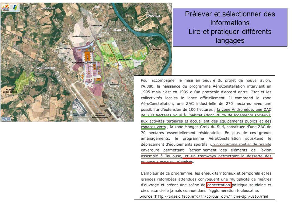Prélever et sélectionner des informations Lire et pratiquer différents langages Source :http://base.citego.info/fr/corpus_dph/fiche-dph-8116.html