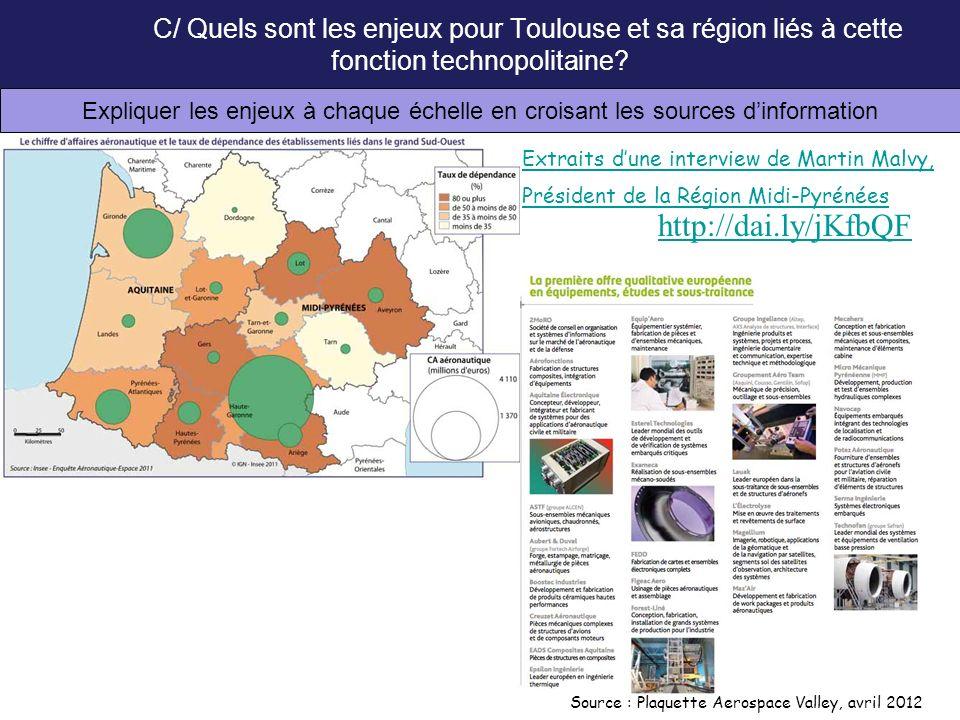 C/ Quels sont les enjeux pour Toulouse et sa région liés à cette fonction technopolitaine? Expliquer les enjeux à chaque échelle en croisant les sourc