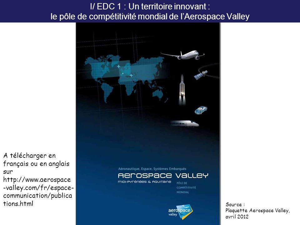 I/ EDC 1 : Un territoire innovant : le pôle de compétitivité mondial de lAerospace Valley A télécharger en français ou en anglais sur http://www.aeros