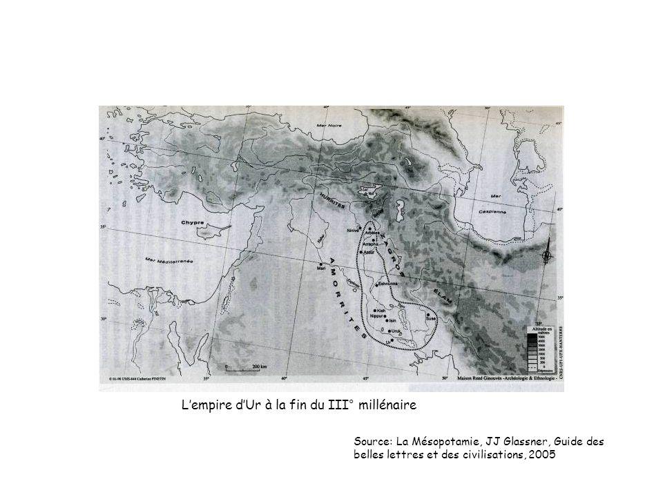 Lempire dUr à la fin du III° millénaire Source: La Mésopotamie, JJ Glassner, Guide des belles lettres et des civilisations, 2005