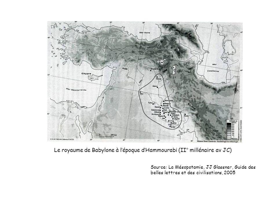 Le royaume de Babylone à lépoque dHammourabi (II° millénaire av JC) Source: La Mésopotamie, JJ Glassner, Guide des belles lettres et des civilisations