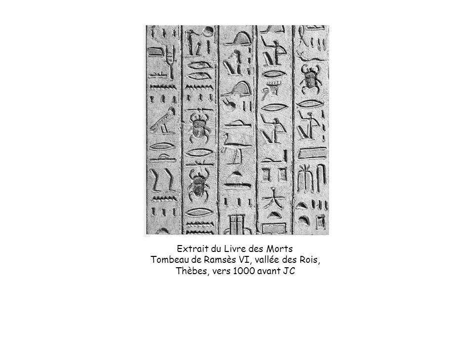 Extrait du Livre des Morts Tombeau de Ramsès VI, vallée des Rois, Thèbes, vers 1000 avant JC
