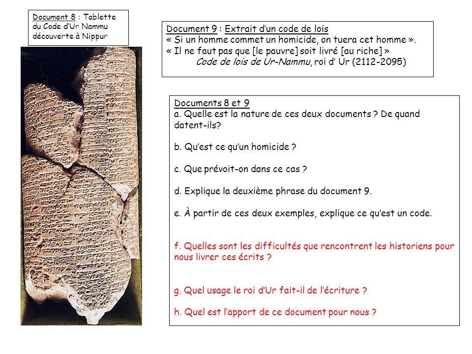 Document 8 : Tablette du Code dUr Nammu découverte à Nippur Document 9 : Extrait dun code de lois « Si un homme commet un homicide, on tuera cet homme