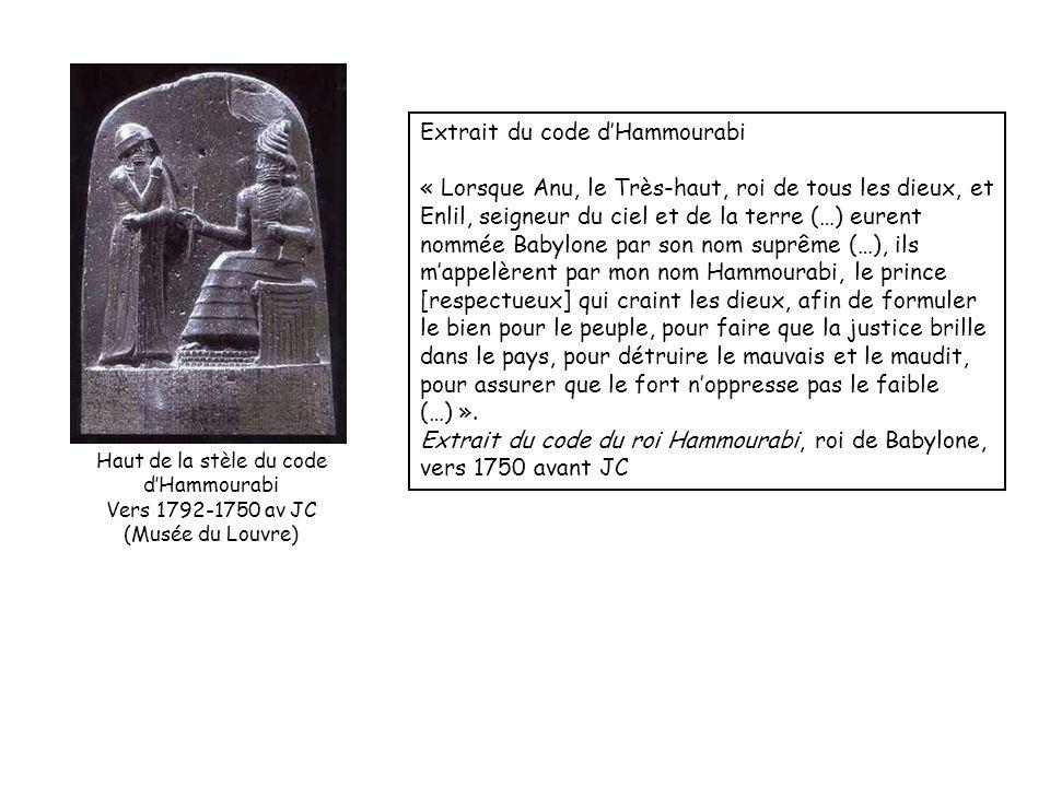 Extrait du code dHammourabi « Lorsque Anu, le Très-haut, roi de tous les dieux, et Enlil, seigneur du ciel et de la terre (…) eurent nommée Babylone p