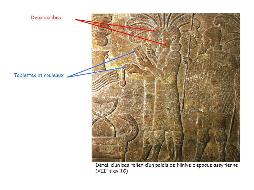 Tablettes et rouleaux Deux scribes Détail dun bas relief dun palais de Ninive dépoque assyrienne (VII° s av JC)