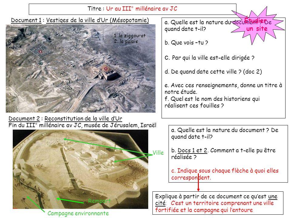Titre : Ur au III° millénaire av JC Document 1 : Vestiges de la ville dUr (Mésopotamie) Document 2 : Reconstitution de la ville dUr Fin du III° millén
