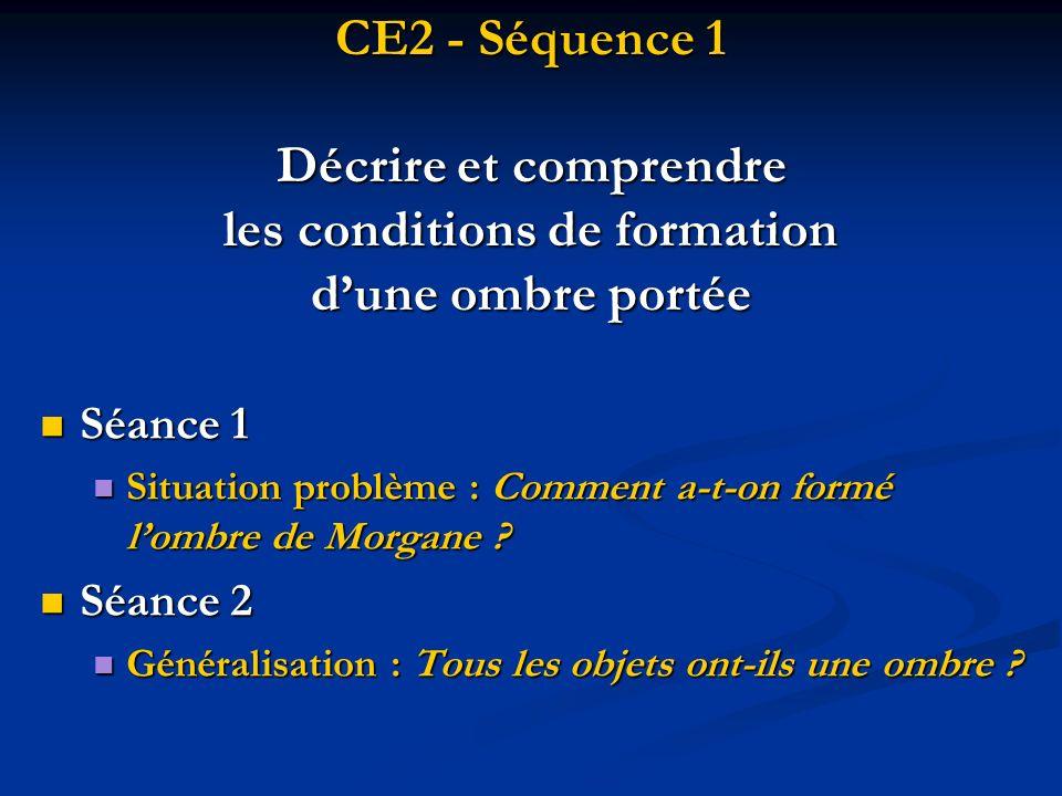 CE2 - Séquence 1 Décrire et comprendre les conditions de formation dune ombre portée Séance 1 Séance 1 Situation problème : Comment a-t-on formé lombr