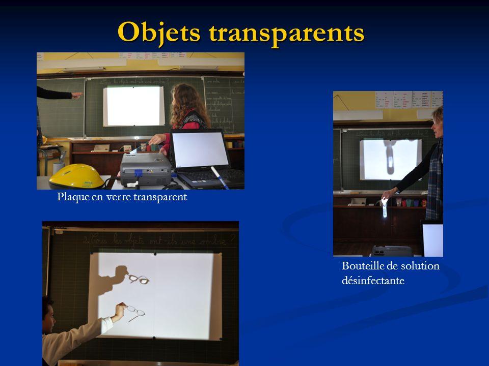 Objets transparents Plaque en verre transparent Bouteille de solution désinfectante