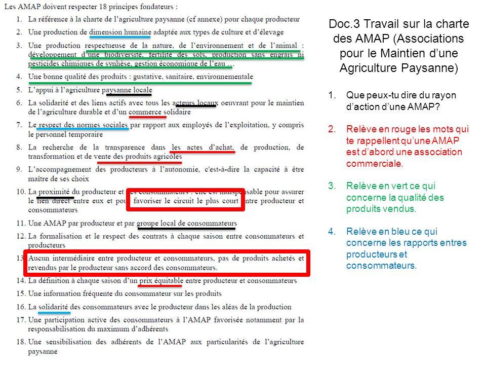 Doc.3 Travail sur la charte des AMAP (Associations pour le Maintien dune Agriculture Paysanne) 1.Que peux-tu dire du rayon daction dune AMAP? 2.Relève