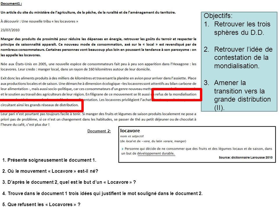 Document 2: 1. Présente soigneusement le document 1. 2. Où le mouvement « Locavore » est-il né? 3. Daprès le document 2, quel est le but dun « Locavor