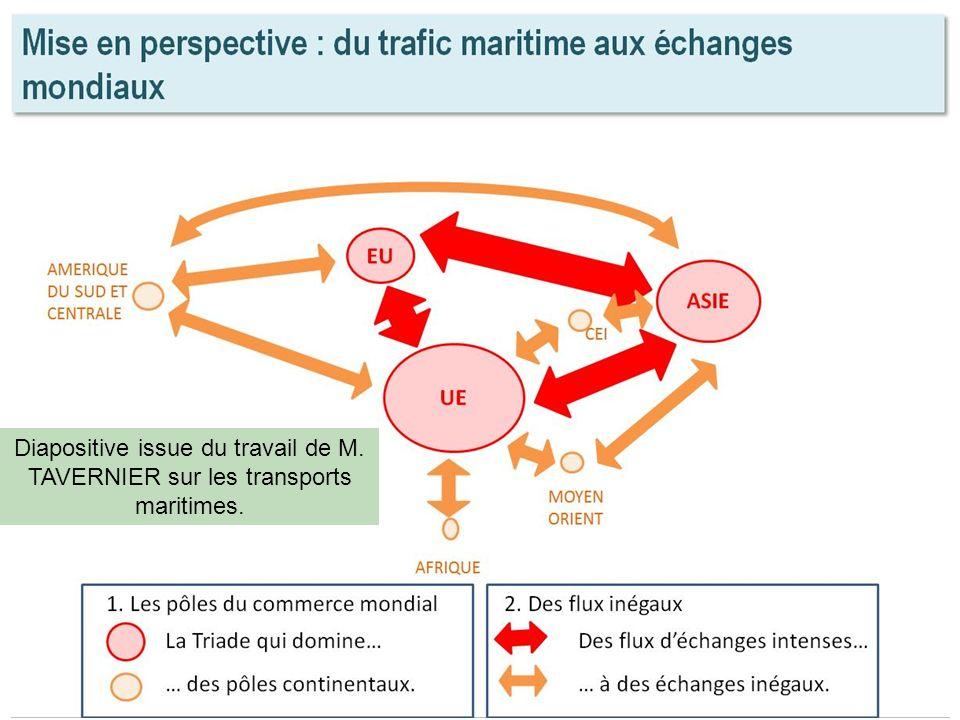 Diapositive issue du travail de M. TAVERNIER sur les transports maritimes.