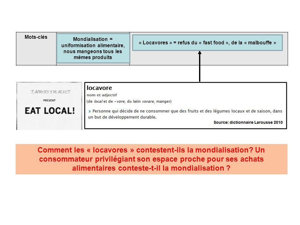 Mots-clés Comment les « locavores » contestent-ils la mondialisation? Un consommateur privilégiant son espace proche pour ses achats alimentaires cont