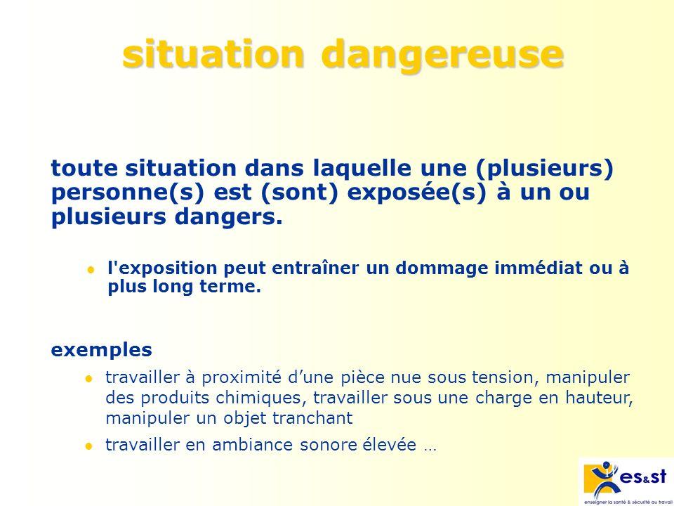 11 situation dangereuse toute situation dans laquelle une (plusieurs) personne(s) est (sont) exposée(s) à un ou plusieurs dangers.